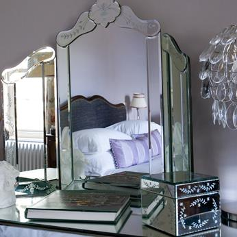 Art Deco dressing table, mirror, mirrored dressing table, glass dressing table