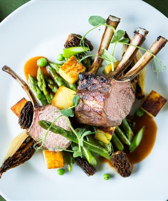 Rack of Lamb, rosemary parmentier potatoes, grilled asparagus, morel sauce