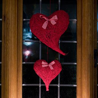 Special Occasions, Large Red Hearts, twinkly lights, candle light, valentines decorations, candles and hearts