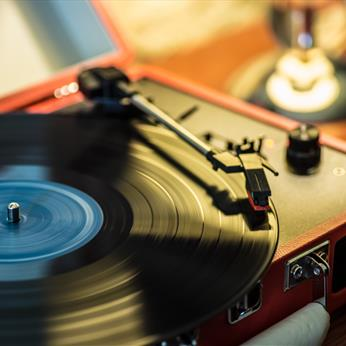 Turntable and Vinyl in the barn at The Olive Branch Pub, Clipsham