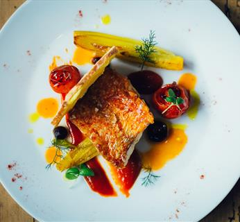 Olive Branch Autumn Menu - Pan fried fillet of red mullet, bouillabaisse dressing, balsamic tomato, rouille crouton
